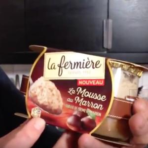 Test d'un nouveau produit industriel : La mousse au marron sur lit de crème de marron La Fermière