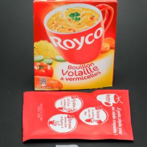 1 sachet individuel de bouillon volaille Royco contient 1,75 dosettes de sel soit 1,4g