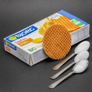 1 gaufre miel Bjorg contient de 2,1 cuil. à café de sucre