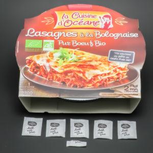 1 barquette de lasagnes à la bolognaise la Cuisine d'Océane contient 5,25 dosettes de sel soit 4,2g