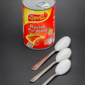 1 boite de 400g de ravioli Zapetti contient 2,6 cuil. à café de sucre