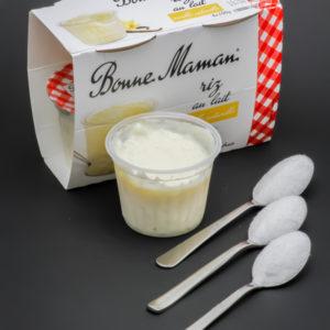 1 riz au lait Bonne Maman contient 3 cuil. à café de sucre