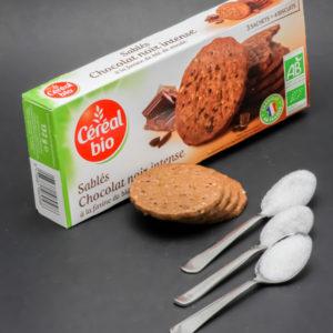 4 sablés au chocolat Céréal Bio contiennent 2,4 cuil. à café de sucre