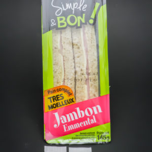 2 sandwiches triangles jambon emmental Sodebo contiennent 2,71 dosettes de sel soit 2,17g
