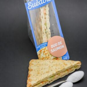 1 sandwich suédois au saumon (2 triangles) Sodebo contient 1,9 cuil. à café de sucre