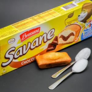 1 Savane chocolat de Brossard contient 1,5 cuil. à café de sucre soit 7,3g