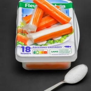 5 bâtonnets de surimi Fleury Michon contiennent 0,6 cuil. à café de sucre