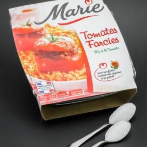 1 barquette de tomates farcies de Marie contient 1,7 cuil. à café de sucre