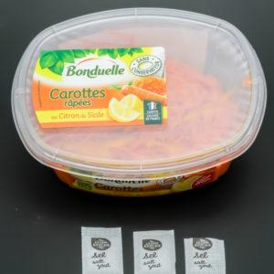 1 barquette de carottes râpées Bonduelle contient 2,8 dosettes de sel soit 2,24g