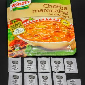 1 sachet de soupe chorba marocaine Knorr contient 9,5 dosettes de sel soit 7,6g