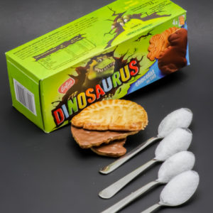 3 Dinosaurus de Lotus contiennent 3,3 cuil. à café de sucre soit 18g