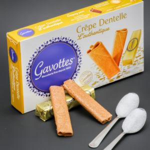 2 sachets (4 crêpes dentelle) Gavottes contiennent 2 cuil. à café de sucre soit 10g