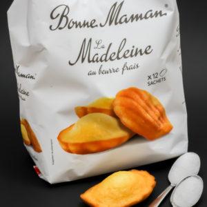 1 madeleine Bonne Maman contient 1,3 cuil. à café de sucre soit 6,6g