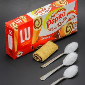 1 mini roulé chocolat Pépito contient 2,4 cuil. à café de sucre soit 12g