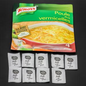 1 sachet de poule aux vermicelles Knorr contient 9 dosettes de sel soit 7,2g