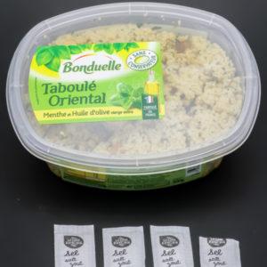 1 barquette de taboulé oriental Bonduelle contient 3,75 dosettes de sel soit 3g
