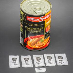 1 boite de cassoulet toulousain William Saurin contient 5,25 dosettes de sel soit 4,2g