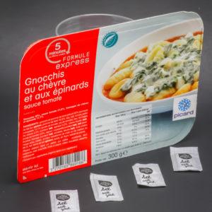 1 barquette de gnocchis au chèvre et aux épinards Picard Surgelés contient 4 dosettes