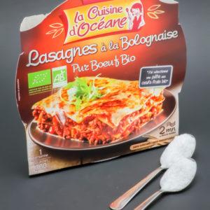 1 barquette de Lasagnes à la Bolognaise La Cuisine d'Océane contient 1,9 cuil. à café de sucre soit 9,6g