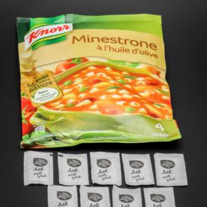 1 sachet de Minestrone Knorr (4 portions) contient 9 dosettes de sel soit 7,2g