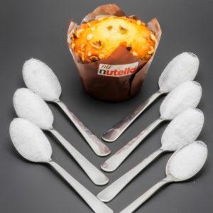 1 Muffin Nutella au coeur fondant KFC contient 6,4 cuil. à café de sucre soit 32g