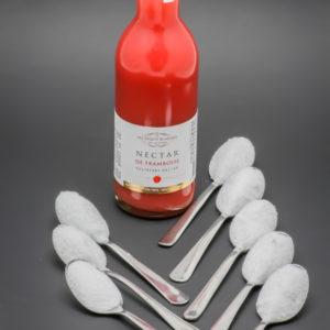 25cl de nectar de framboise Les Toques Blanches du Monde contiennent 7 cuil. à café de sucre soit 35g