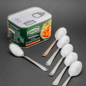 1 boite de poivrons cuisinés Cassegrain contient 5,2 cuil. à café de sucre soit 26,2g