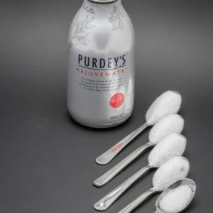 1 Purdey's Rejuvenate de 33cl contient 4,2 cuil. à café de sucre soit 21g