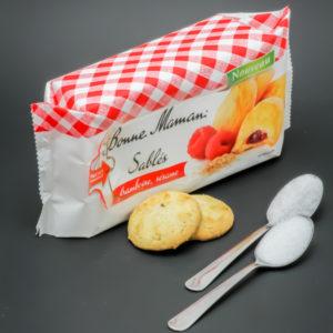 2 sablés framboise/sésame Bonne Maman contiennent 1,4 cuil. à café de sucre soit 7,2g