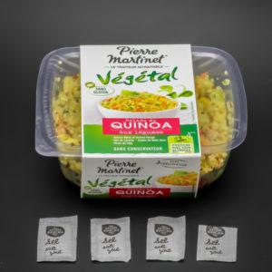 1 salade de quinoa aux légumes Pierre Martinet contient 3,75 dosettes de sel soit 3g
