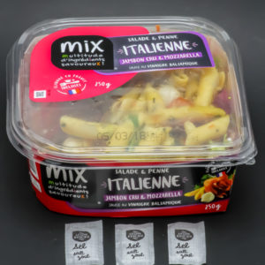1 salade & penne italienne Mixsnacking contient 3 dosettes de sel soit 2,4g
