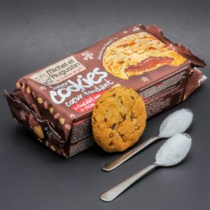 1 Super Cookie Michel et Augustin contient 2,1 cuil. à café de sucre soit 10,5g