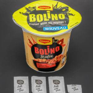 1 pot de Bolino Italie Maggi contient 3,4 dosettes de sel soit 2,7g