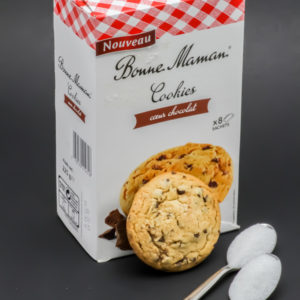 1 cookie coeur chocolat Bonne Maman contient 2 cuil. à café de sucre soit 10g