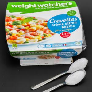 1 barquette de pâtes aux crevettes Weightwatchers contient 1,5 cuil. à café de sucre soit 7,3g