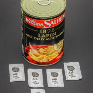 1 boite de lapin aux 2 moutardes William Saurin contient 5,5 dosettes de sel soit 4,4g