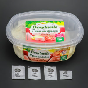 1 barquette de Piémontaise au jambon Bonduelle contient 3,6 dosettes de sel soit 2,88g