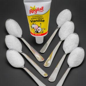 1 Régilait Pocket vanille contient 6,8 cuil. à café de sucre soit 34g