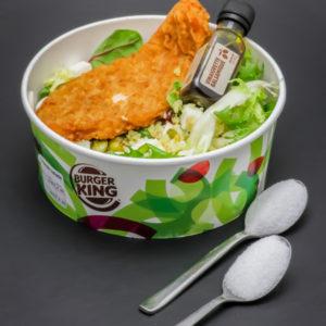1 salade green chicken Burger King contient 1,7 cuil. à café de sucre soit 8,5g