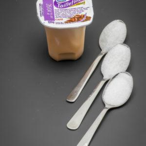 1 pot de Taillefine Plaisirs Café de Danone contient 2,4 cuil. à café de sucre soit 12g