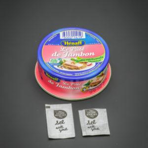 1 boite de Pâté de Jambon Hénaff contient 1,8 dosettes de sel soit 1,44g