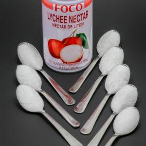 1 canette nectar de litchis Foco de 35cl contient 7,7 cuil. à café de sucre soit 38,5g
