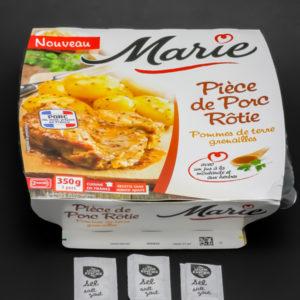 1 barquette de pièce de porc rôtie Marie contient 2,9 dosettes de sel soit 2,3g