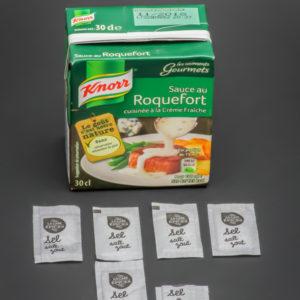 1 briquette de sauce au roquefort de 30cl Knorr contient 5,6 dosettes de sel soit 4,5g
