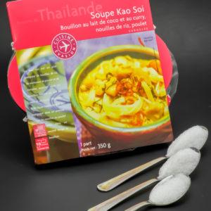 1 soupe Kao Soi de Picard Surgelés contient 2,5 cuil. à café de sucre soit 12,3g