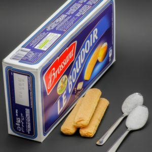 3 Boudoirs Brossard contiennent 1,8 cuil. à café de sucre soit 9g
