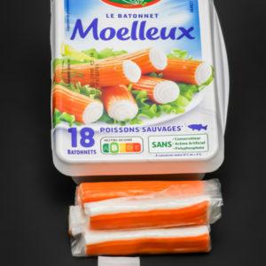 6 bâtonnets de surimi Fleury Michon contiennent 1,5 dosettes de sel soit 1,2g