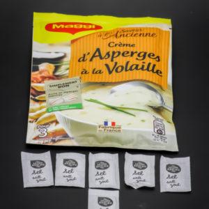 1 sachet de crème d'asperges à la volaille Maggi pour 3 contient 6 dosettes de sel soit 4,8g