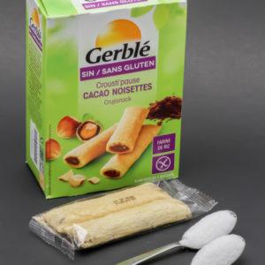 2 barres Crousti'pause cacao noisettes de Gerblé contiennent 2,1 cuil. à café de sucre soit 10,5g