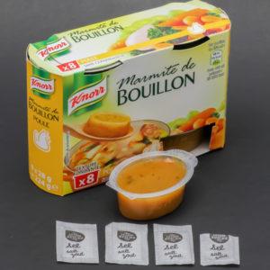1 marmite de bouillon de poule Knorr contient 3,75 dosettes de sel soit 3g
